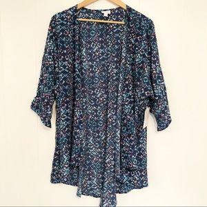 NWT LuLaRoe Lindsay Kimono Blue w/ Pockets 3XL
